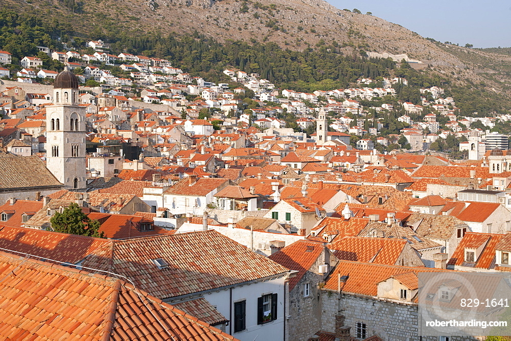View over the rooftops of the old town in the city of Dubrovnik, UNESCO World Heritage Site, Adriatic Coast, Croatia, Europe