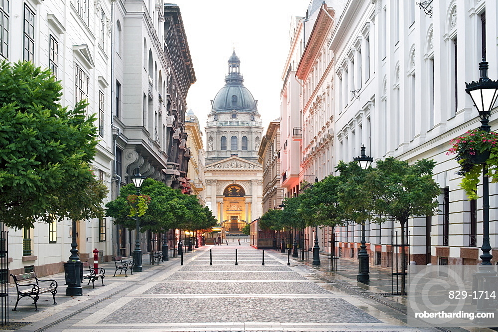 Dawn view of St. Stephen's Basilica from Zrinyi Street in Budapest, Hungary, Europe