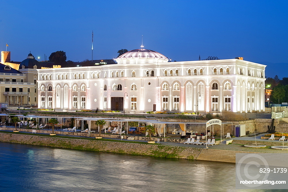 Museum of the Macedonian Struggle on the banks of the Vardar River in Skopje, Macedonia, Europe