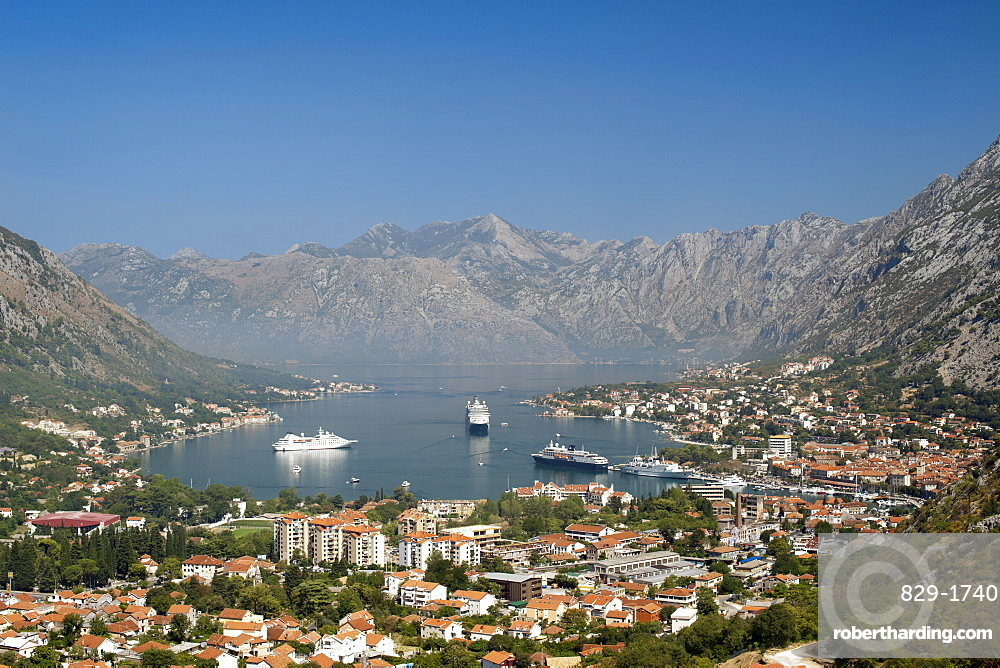 View of Kotor Bay and Kotor town, UNESCO World Heritage Site, Montenegro, Europe