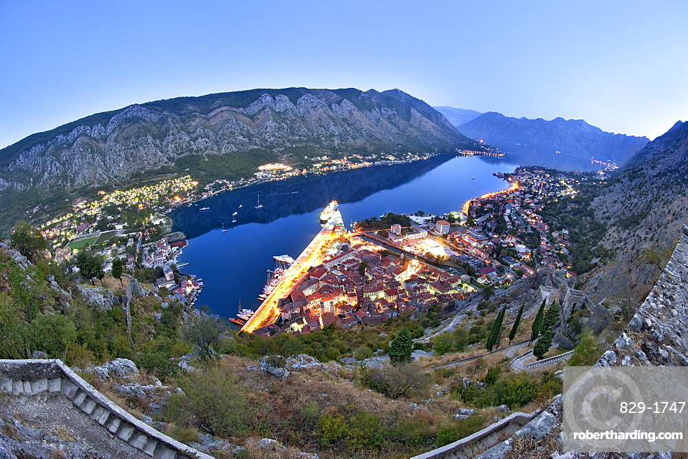 Dawn view of Kotor Bay and Kotor town from the ramparts of St John's Castle, UNESCO World Heritage Site, Montenegro, Europe