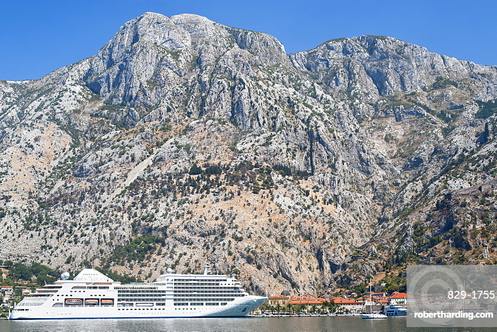 Cruise ship at the port of Kotor in Kotor Bay, UNESCO World Heritage Site, Montenegro, Europe