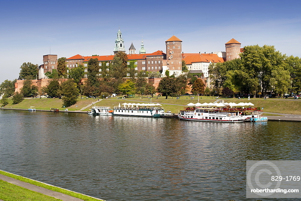 Wawel castle and the Wista River in Krakow in southern Poland, Europe