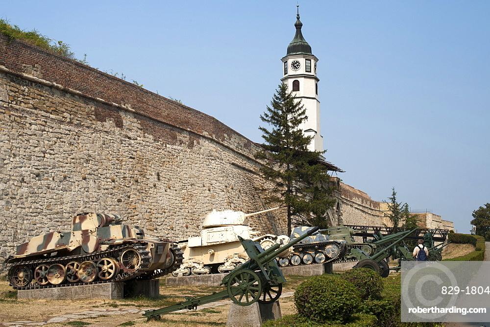 Tanks on display at the Military Museum in Kalemegdan castle in Belgrade, Serbia, Europe