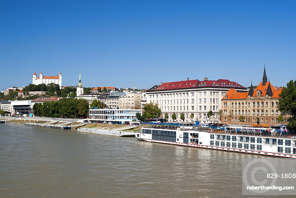 Bratislava Castle, St. Martin's Cathedral and the Danube River in Bratislava, Slovakia, Europe