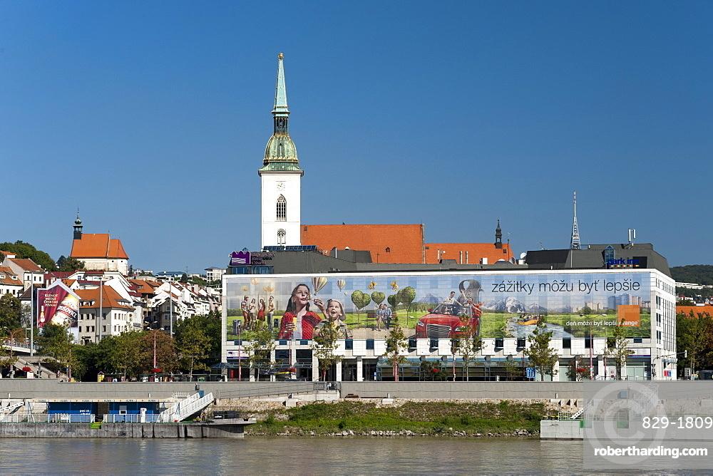 St. Martin's Cathedral (Coronation Church) and the Danube River in Bratislava, Slovakia, Europe