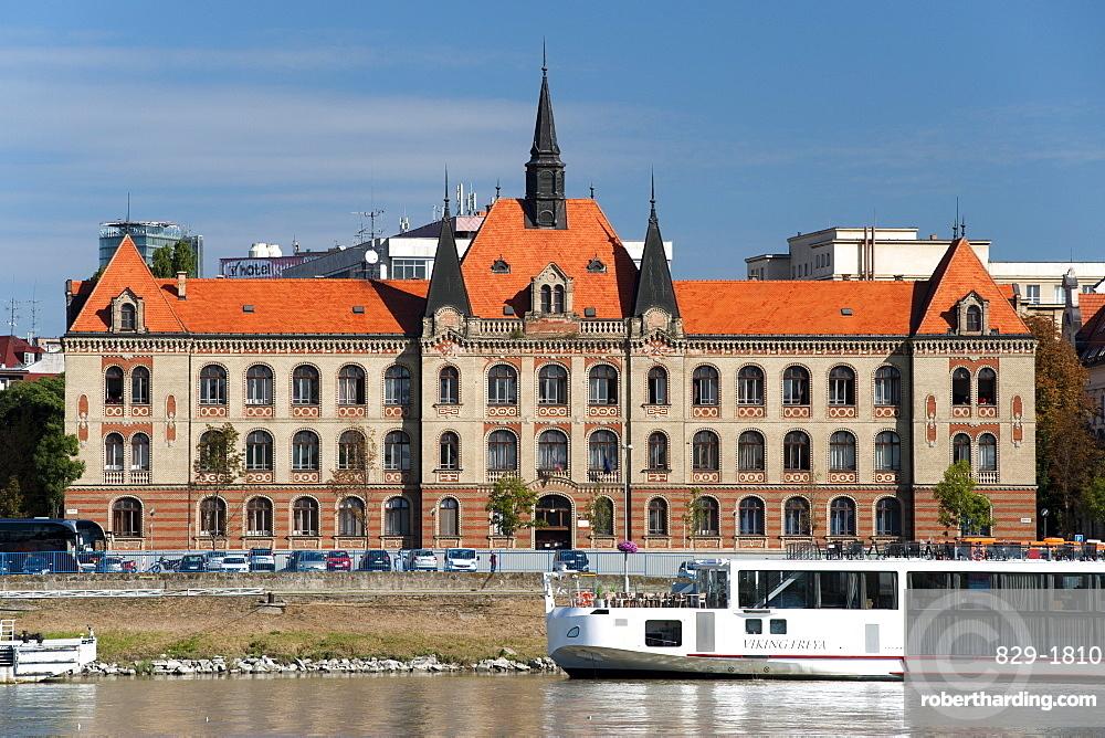 The Stredna Priemyselna Skola Strojnicka building on the banks of the Danube in Bratislava, Slovakia, Europe