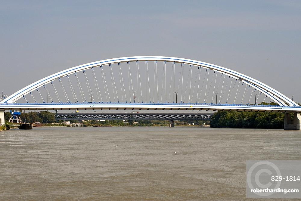 Apollo Bridge spanning the Danube River in Bratislava, Slovakia, Europe