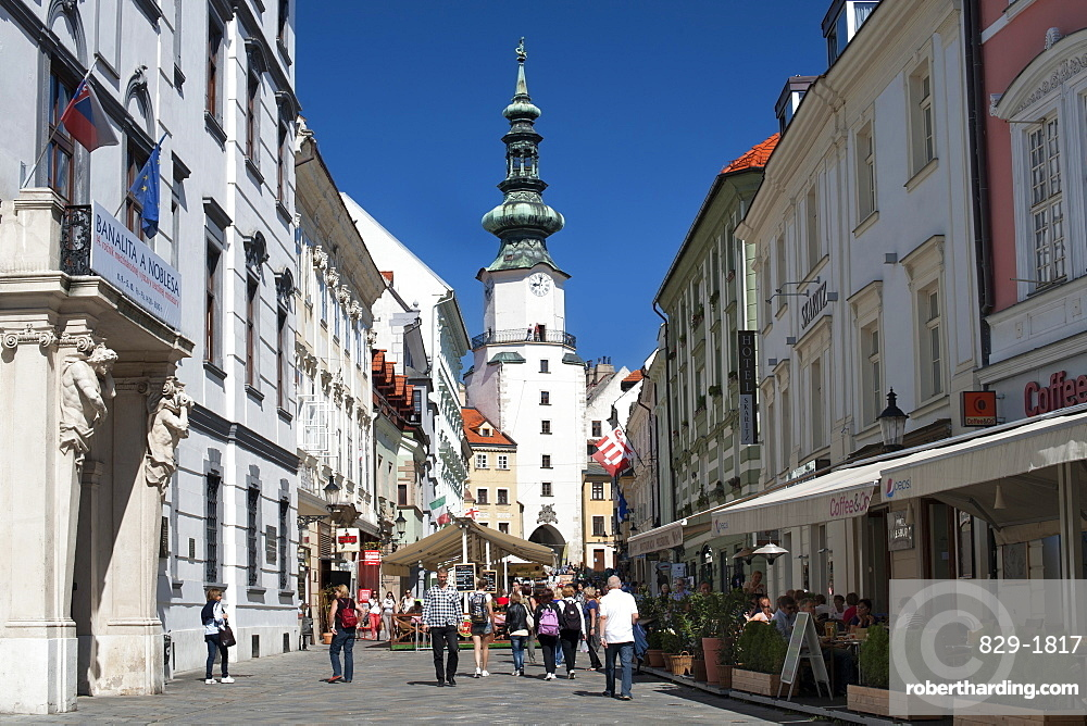Michalska street and St. Michael's Gate and Tower in Bratislava, Slovakia, Europe