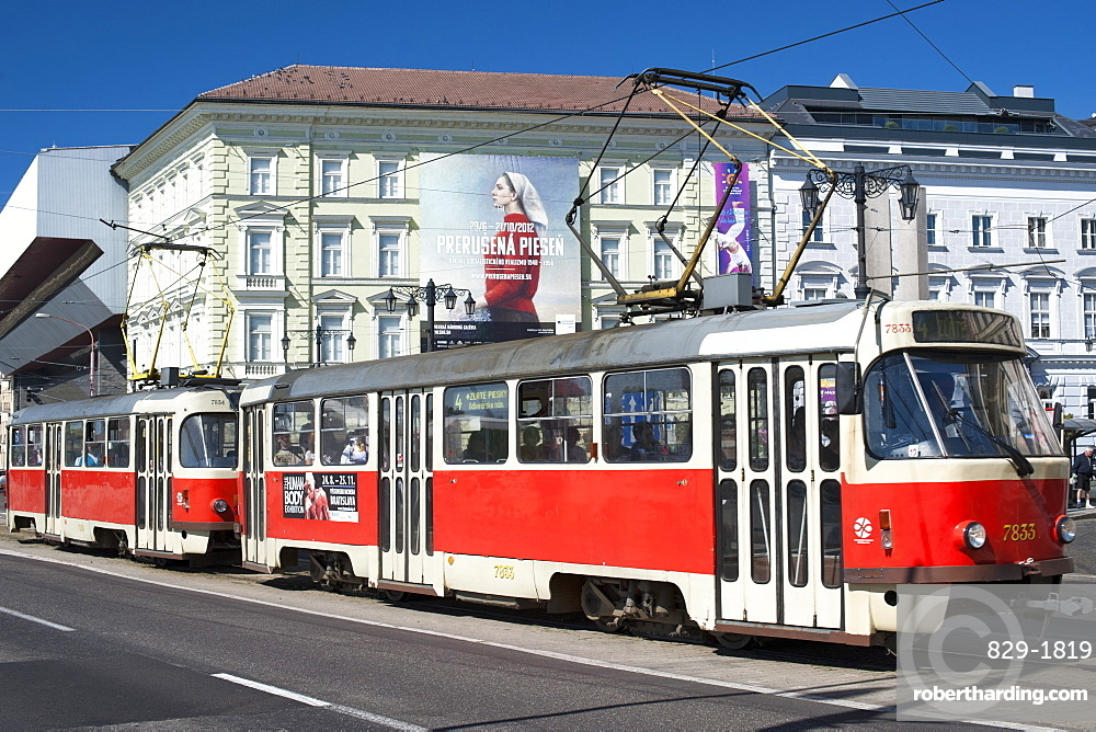Tram in the streets of Bratislava, Slovakia, Europe