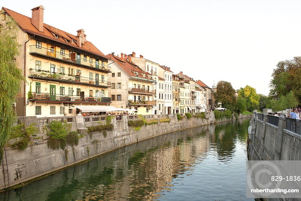 Old buildings on the banks of the Ljubljanica River in Ljubljana, Slovenia, Europe