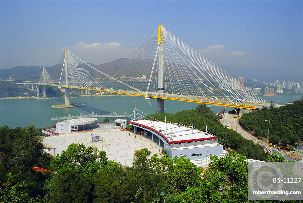 The 1177m cable stayed Ting Kau Bridge linking the northwest New Territories, city and airport via Tsing Yi island, part of the huge airport project, Hong Kong, China, Asia