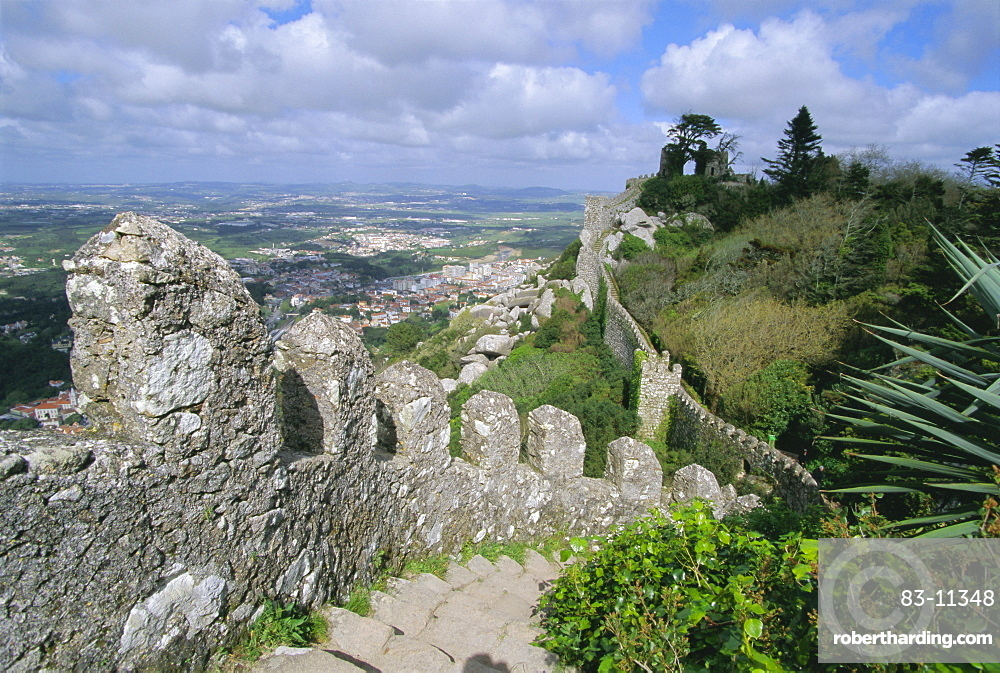 The ramparts of the Moorish Castelo dos Mouros, captured by Christians in 1147, above the town of Sintra, Estremadura, Portugal, Europe