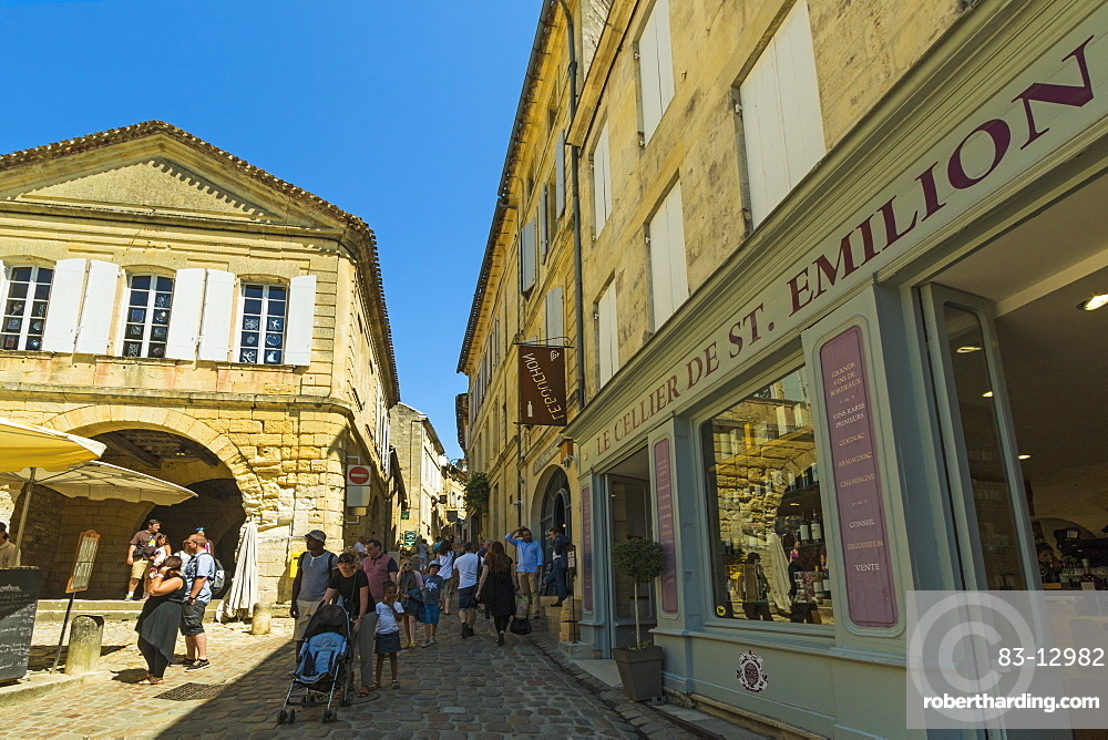 Cave (wine shop) on old Rue de la Cadene in this historic town and famous Bordeaux red wine region, Saint Emilion, Gironde, France, Europe