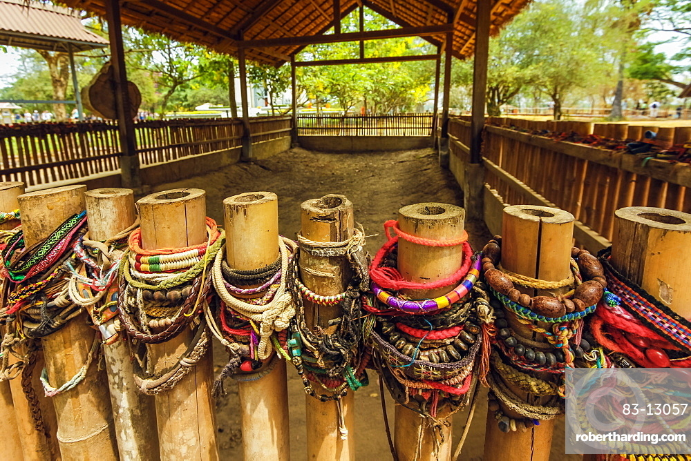 Bracelets left by burial pit in the Killing Fields where 1000s were killed by the Khmer Rouge, Choeung Ek, Phnom Penh, Cambodia, Indochina, Southeast Asia, Asia
