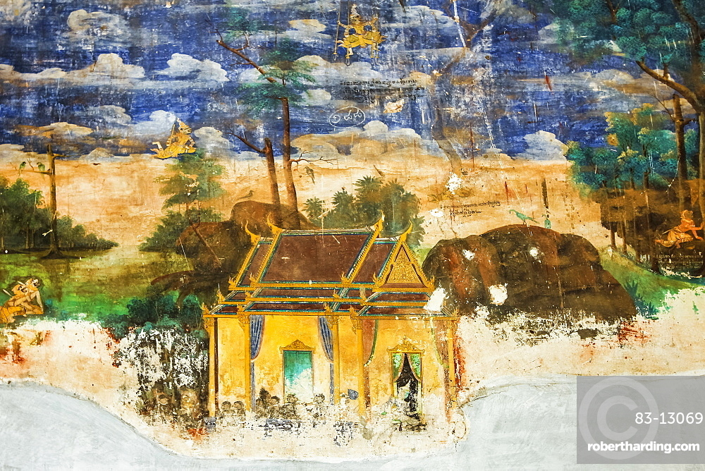 Fresco of the Reamker, the Khmer version of the Ramayana epic poem, Royal Palace cloisters, Royal Palace, Phnom Penh, Cambodia, Indochina, Southeast Asia, Asia