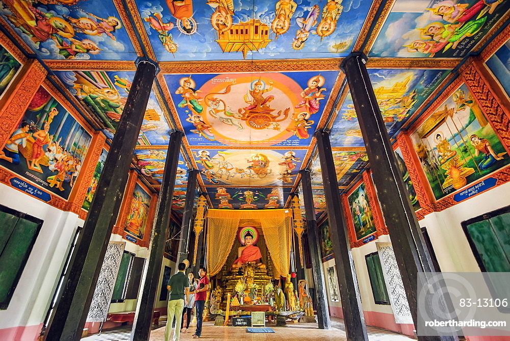 Colourful Buddhist murals in the more recent Southern Pagoda temple at the Angkor Wat complex, Angkor, Siem Reap, Cambodia, Indochina, Southeast Asia, Asia