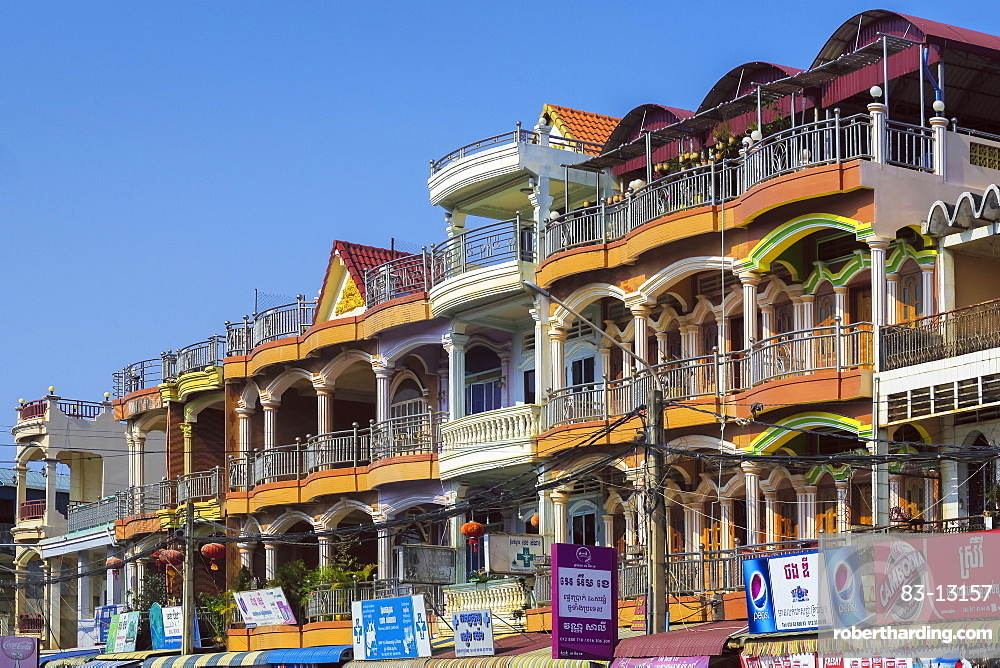 Residential properties above busy Street AH123 near the central market, Kampot, Kampot Province, Cambodia, Indochina, Southeast Asia, Asia