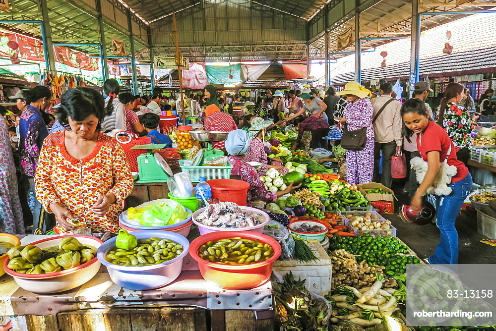 Vegetable stall at the central market in this old formerly French colonial river port city, Kampot, Cambodia
