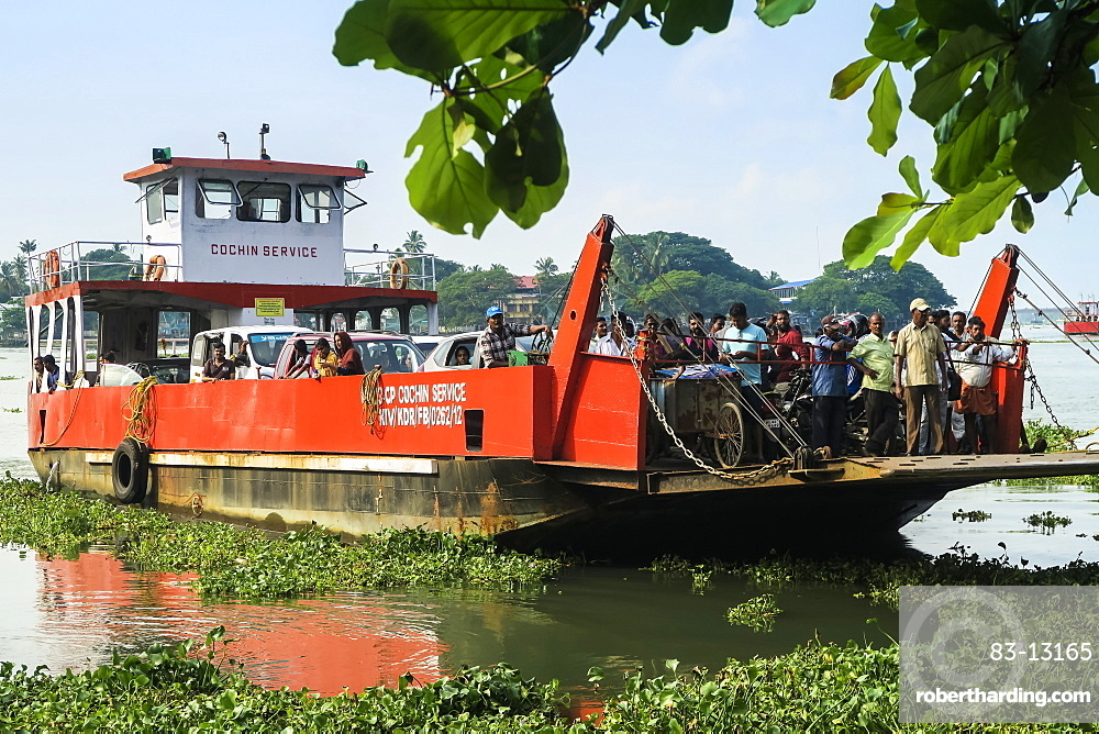 Arrival to the Kochi waterfront of the busy Fort Cochin to Fort Vypin car & passenger ferry; Kochi (Cochin), Kerala, India