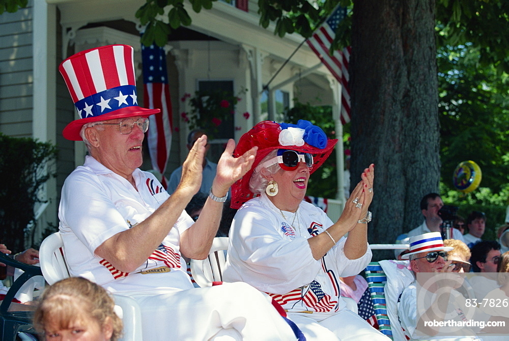 People clapping passing 4th of July parade, Rhode Island, New England, United States of America, North America