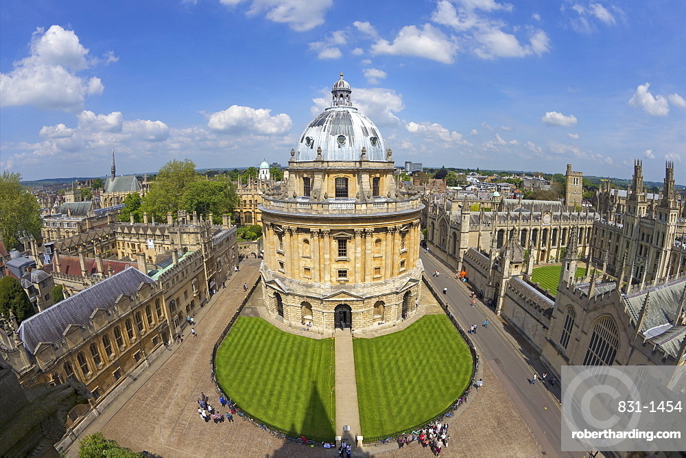Radcliffe Camera and All Souls College from University Church of St. Mary the Virgin, Oxford, Oxfordshire, England, United Kingdom, Europe