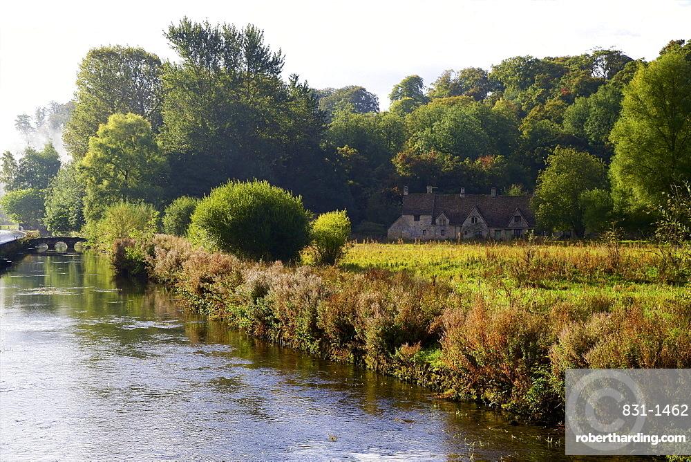River Coln and Arlington Row, Bibury, Cotswolds, Gloucestershire, England, United Kingdom, Europe