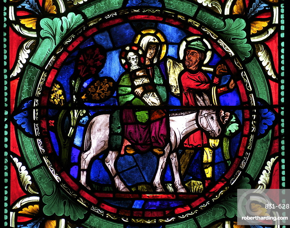 Medieval stained glass depicting Mary, baby Jesus and Joseph on a donkey, Canterbury Cathedral, UNESCO World Heritage Site, Canterbury, Kent, England, United Kingdom, Europe