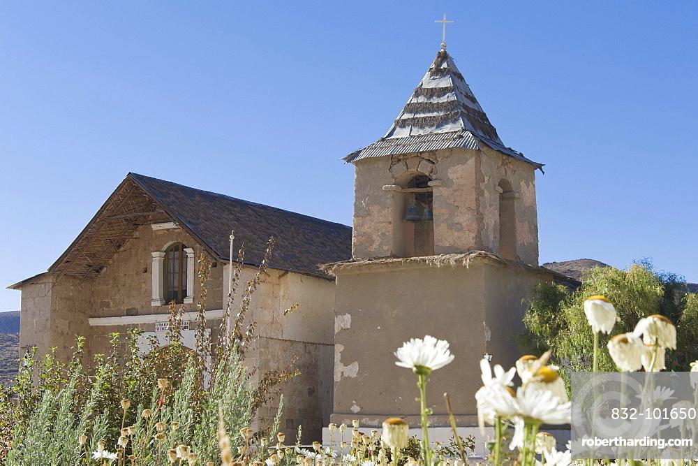 Church, Socorama village, Arica and Parinacota Region, Chile, South America