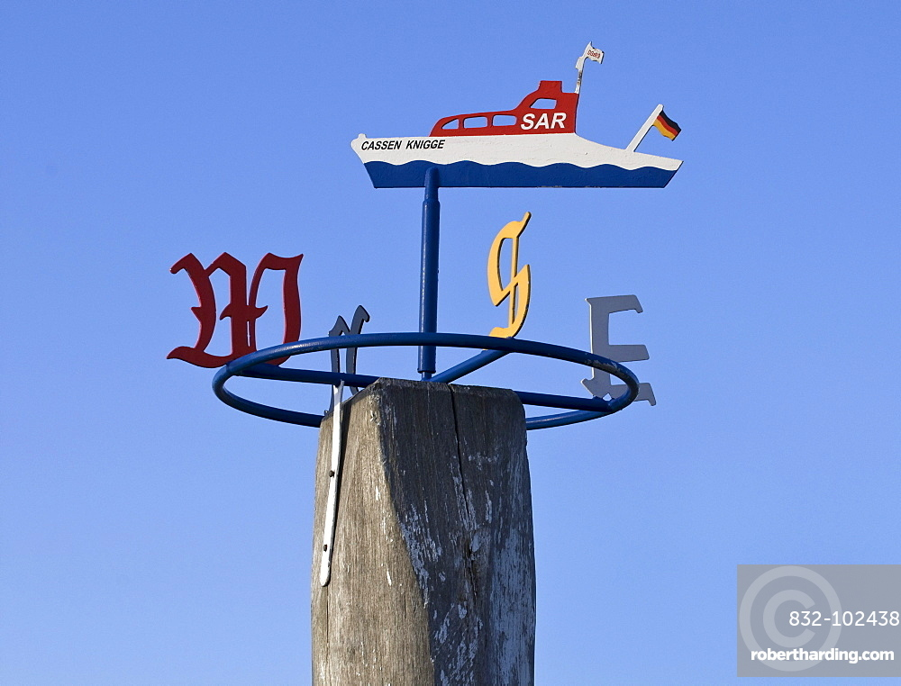 Wind rose of the Cassen Knigge, pier, SAR boat of the DGzRS German Maritime Rescue, Lifeboat Station Western Harbour, Norddeich district, Norden, Lower Saxony, Germany, Europe