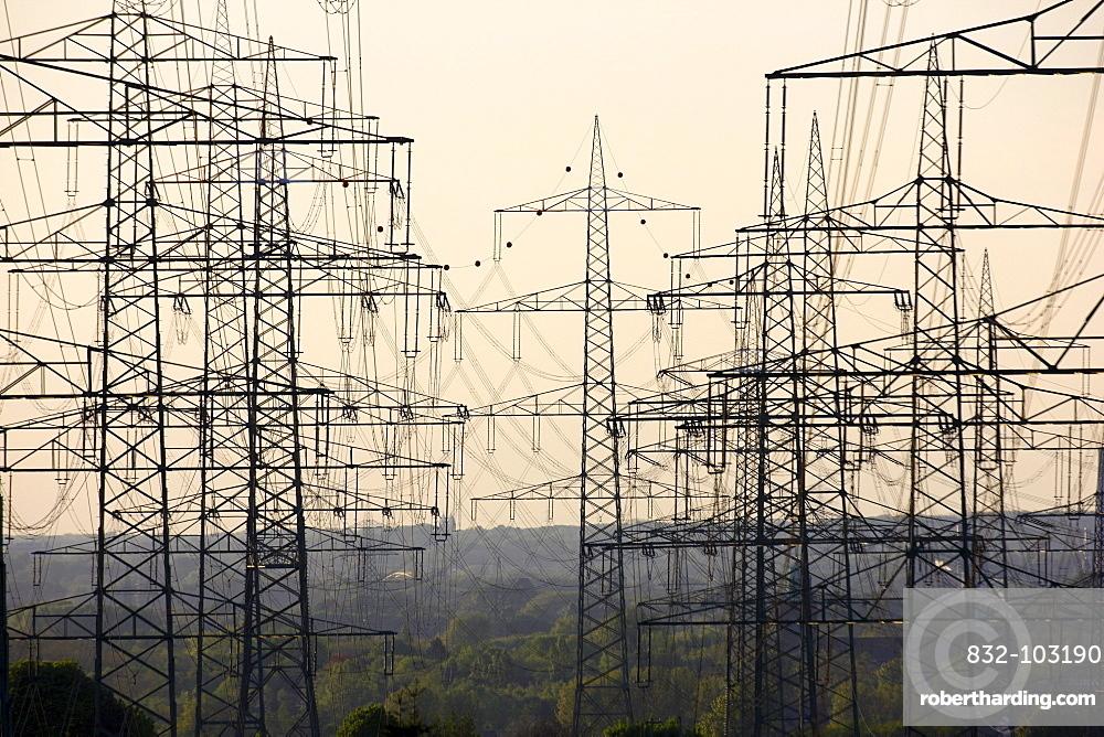 Power lines, power poles, Wattenscheid, Ruhrgebiet region, North Rhine-Westphalia, Germany, Europe