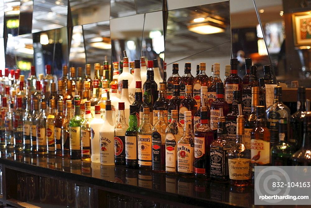 Spirits in the bar of the restaurant Edward Lagton's, Kilkenny, County Kilkenny, Ireland, British Isles, Europe