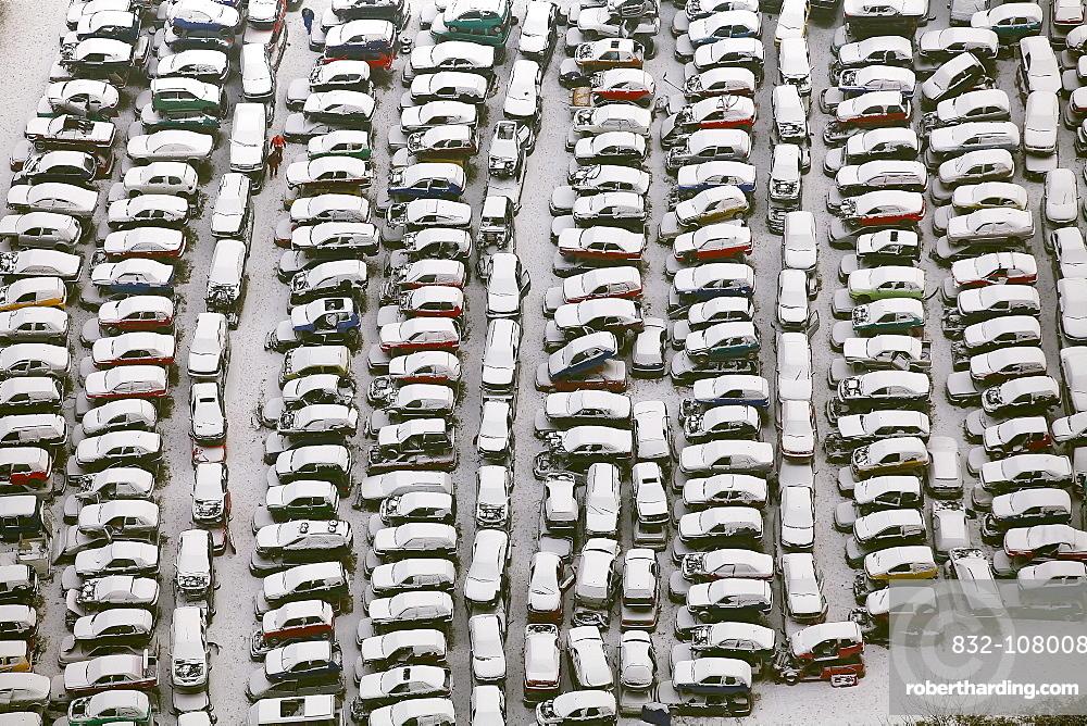 Aerial view, scrap yard, old cars, snow, Heessen, Hamm, Ruhr area, North Rhine-Westphalia, Germany, Europe