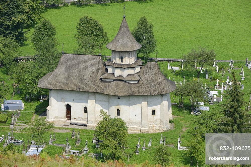 Church and cemetery of Sucevita Monastery, a painted monastery of northern Moldavia, Romania, Europe