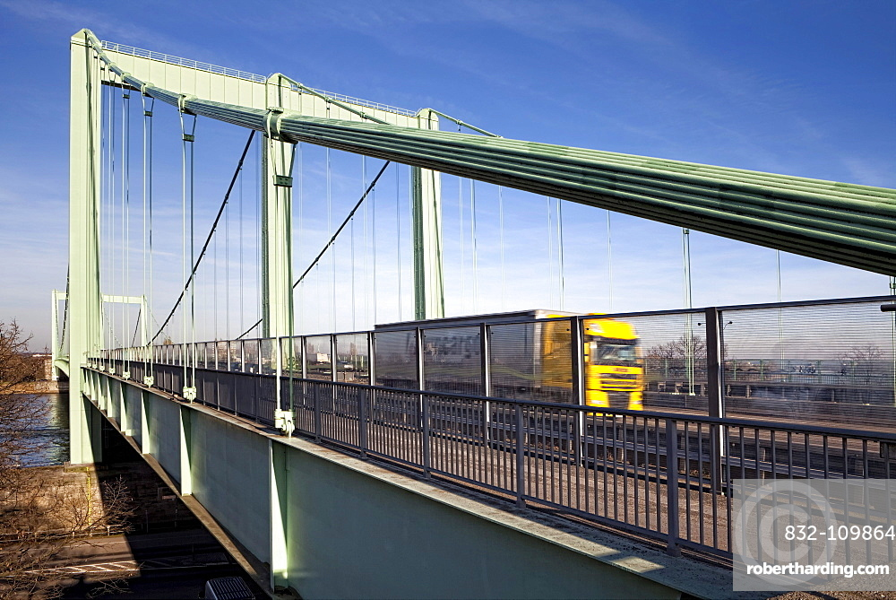 Pedestrian and bicycle path on the Rodenkirchen Rheinbruecke highway bridge over the Rhine, Rodenkirchen, Cologne, North Rhine-Westphalia, Germany, Europe