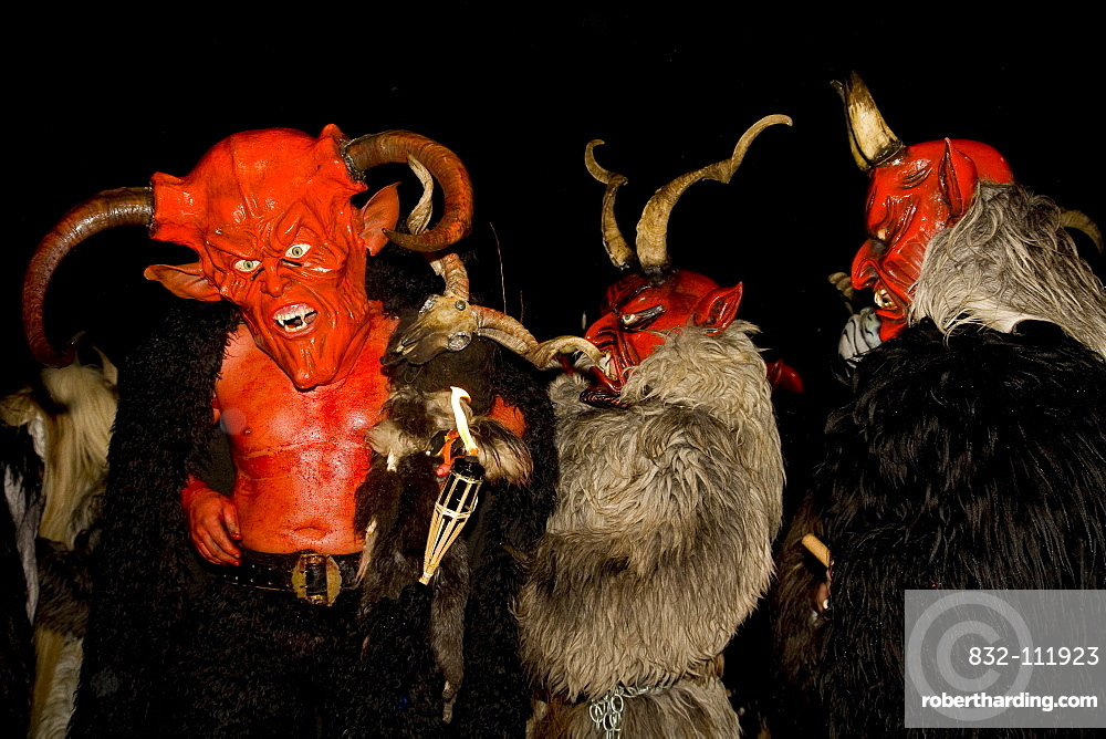 Krampus masks, devil costumes in Ora, Alto Adige, Italy, Europe