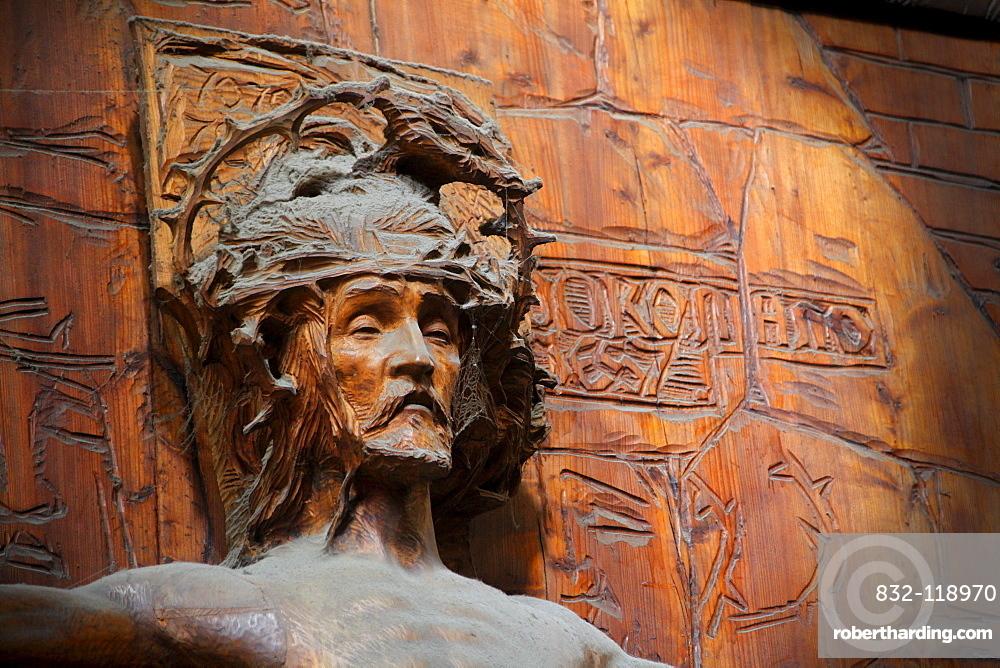 Jesus figure, wood carving with cobwebs, Saint Vitus' Cathedral, Prague Castle, Hradcany, Prague, Czech Republic, Europe
