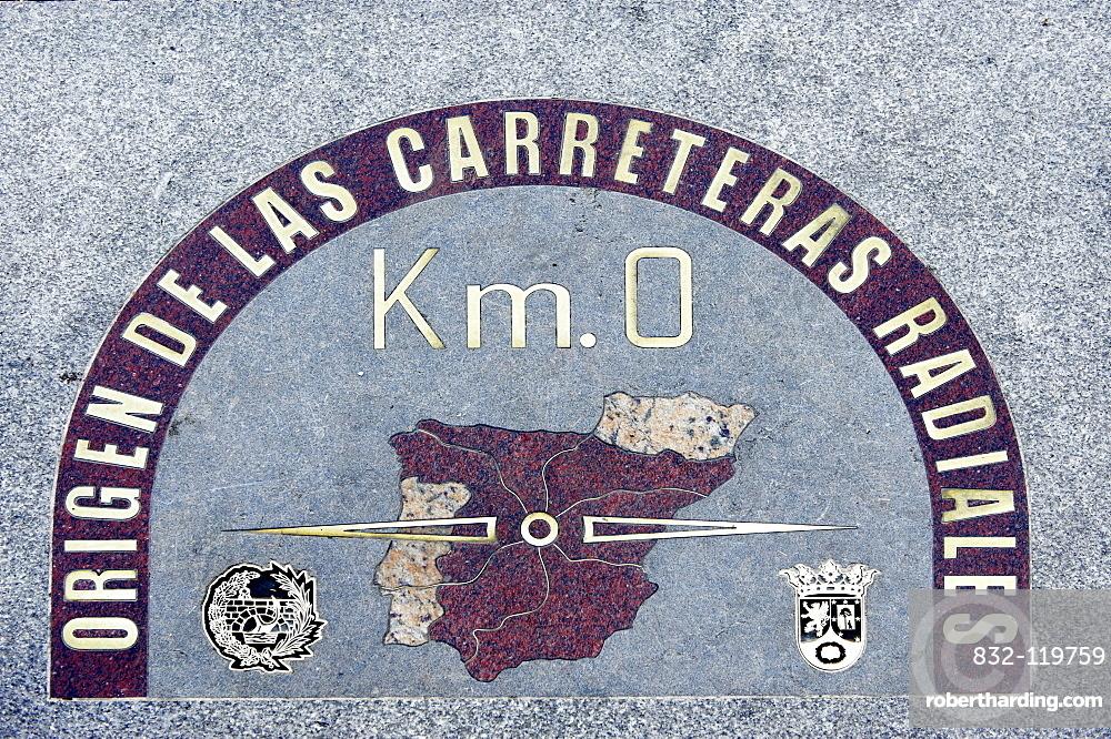 Km 0, the center of Madrid, Plaza Puerto del Sol square, Madrid, Spain, Europe