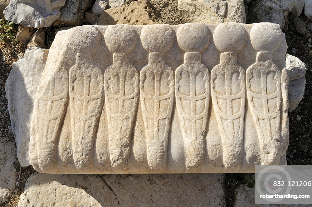 Antique architectural detail at the archeological site of Tyros, Tyre, Sour, Unesco World Heritage Site, Lebanon, Middle East, West Asia