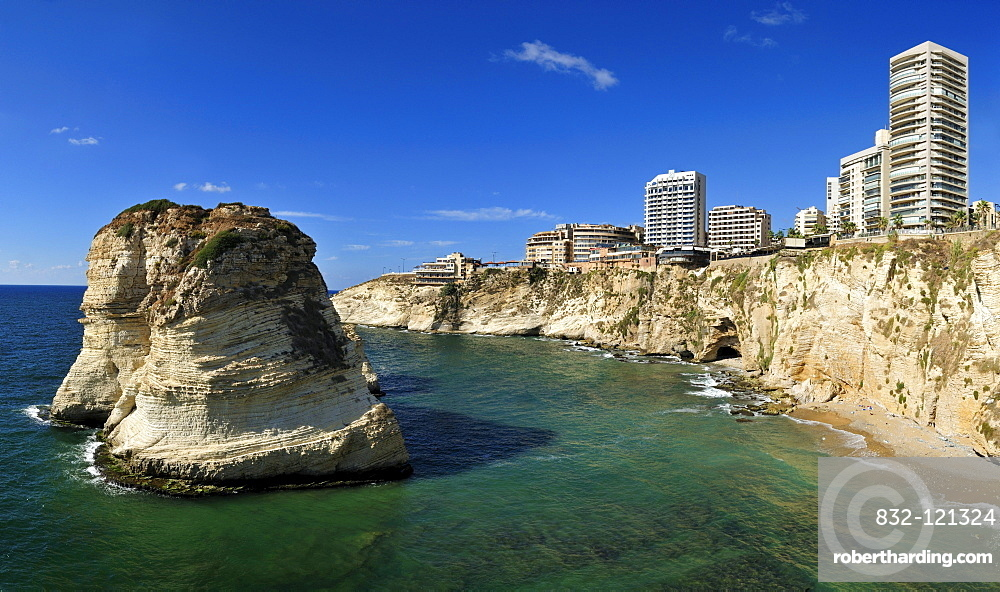 Multistorey appartement buildings near Rawsheh or Pigeon Rocks, Beirut, Beyrouth, Lebanon, Middle East, West Asia