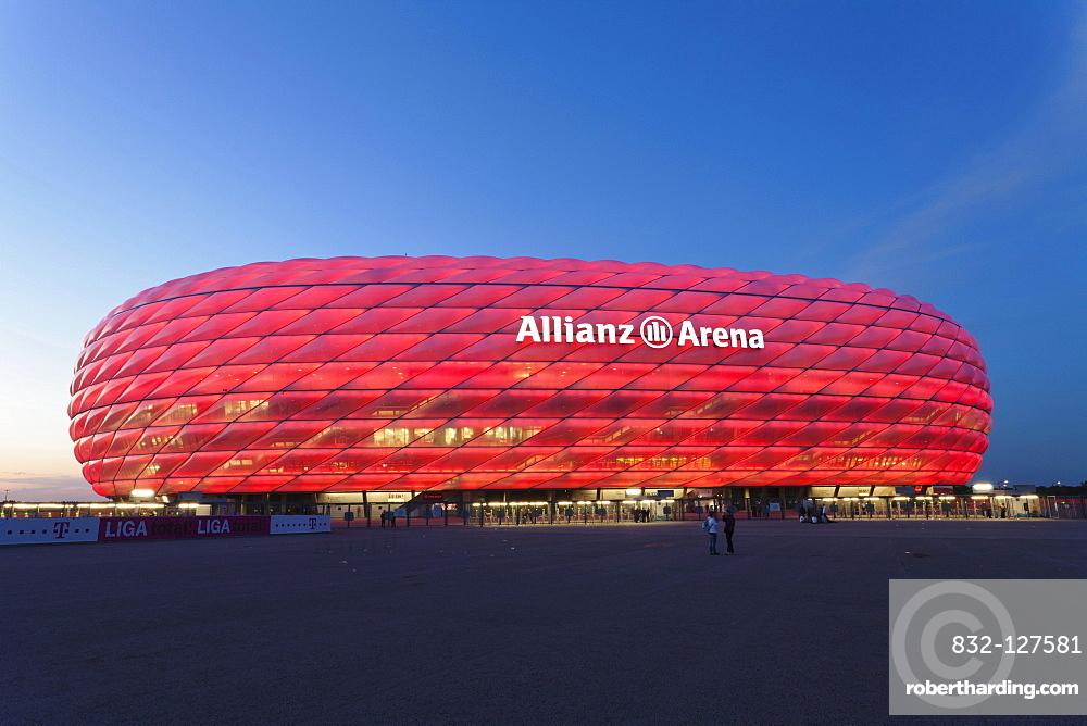 Allianz Arena, illuminated, Munich, Upper Bavaria, Bavaria, Germany, Europe