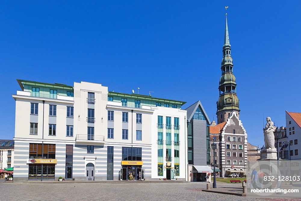 The spire of the St Peter's Church and Town Hall Square, Ratslaukums, old town, Vecriga, Riga, Latvia, Northern Europe