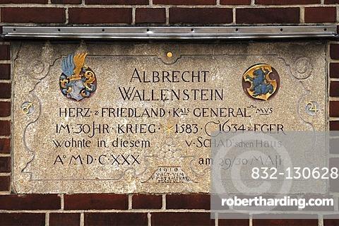 Plaque to General Albrecht Wallenstein, 1583-1634, Weinhof, Ulm, Baden-Wuerttemberg, Germany, Europe