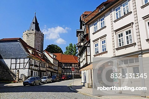 Road to Raven's Tower with historic fortifications, city of Muehlhausen, Unstrut-Hainich-Kreis district, Thuringia, Germany, Europe