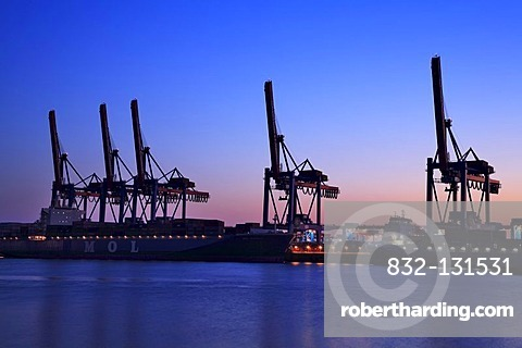 Altenwerder container port, container cranes, blue hour, Hanseatic City of Hamburg, Germany, Europe