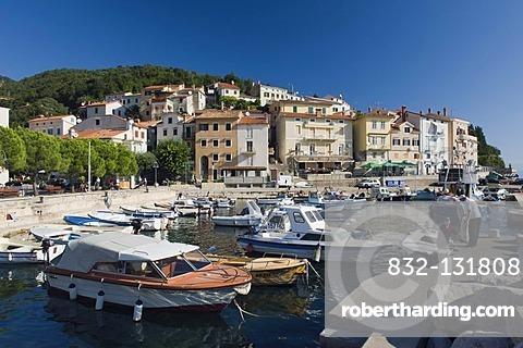 Fishing boats in the harbor of Moscenicka Draga, Istria, Croatia, Europe