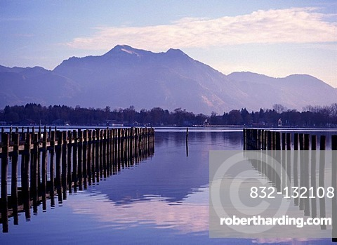 View from Lake Chiemsee, from the Fischer to Mt. Hochgern, Lake Chiemsee, Chiemgau, Upper Bavaria, Bavaria, Germany, Europe