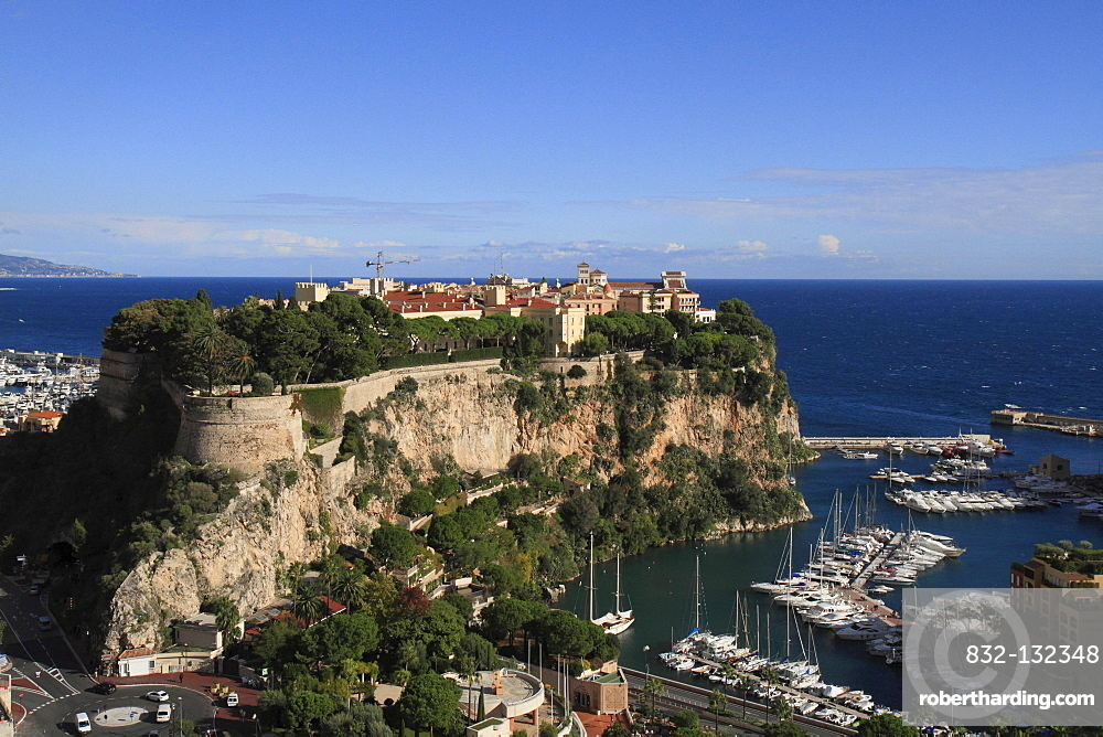 Old town with Prince's Palace and cathedral, Fontvieille marina, Monaco, Cote d'Azur, Mediterranean, Europe
