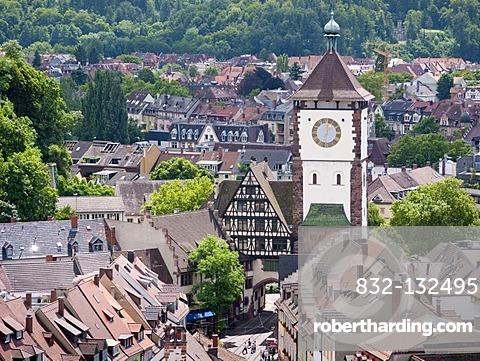 The Schwabentor historic city gate in Freiburg im Breisgau, Baden-Wuerttemberg, southern Germany, Germany, Europe