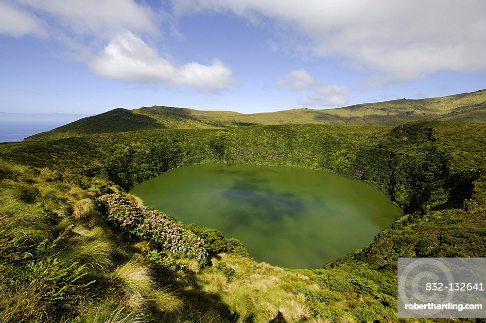 Crater lakes, Caldeira Funda, Caldeira Negra, on the island of Flores, Azores, Portugal
